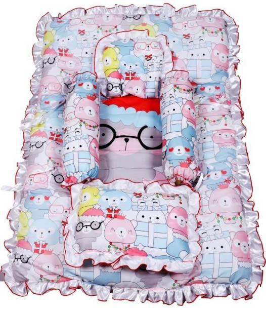 Smartcraft baby Mattress with bolster and two pillows Mixed Bear Print - Pink Standard Mixed Bear Print