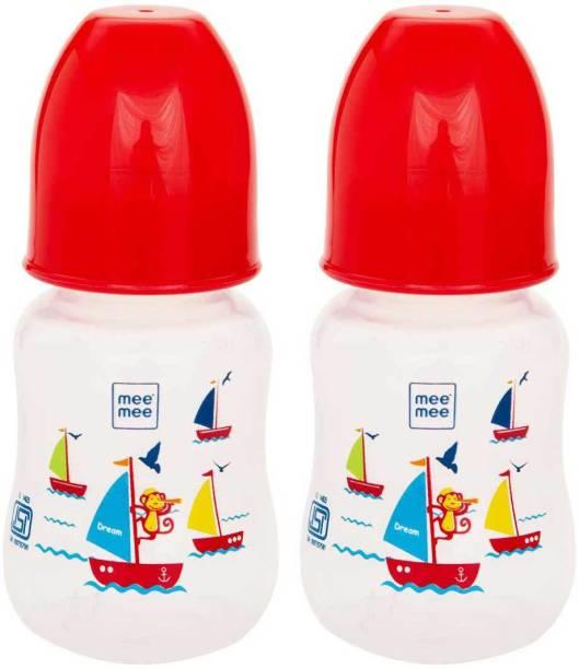 MeeMee Eazy Flo Premium Baby Feeding Bottle, 125 ml (Red, Pack of 2) - 125