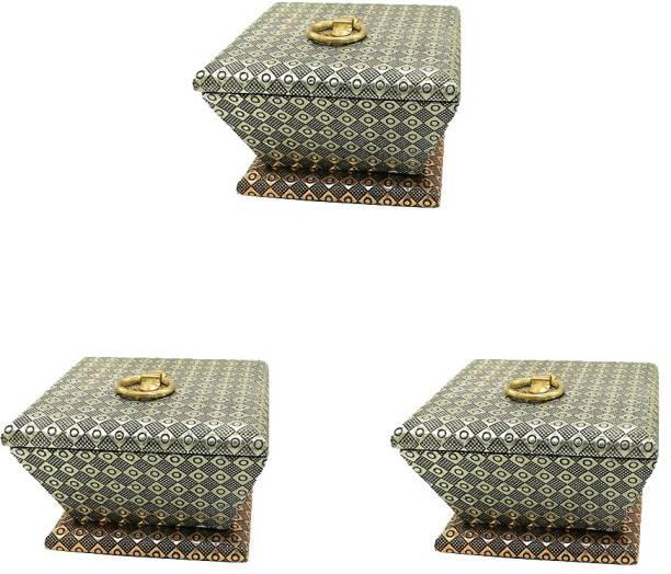 SARANGWARE Oxidised Wooden Rajwadi Dry Fruit Box, Antique Traditional Box Wood Decorative Platter