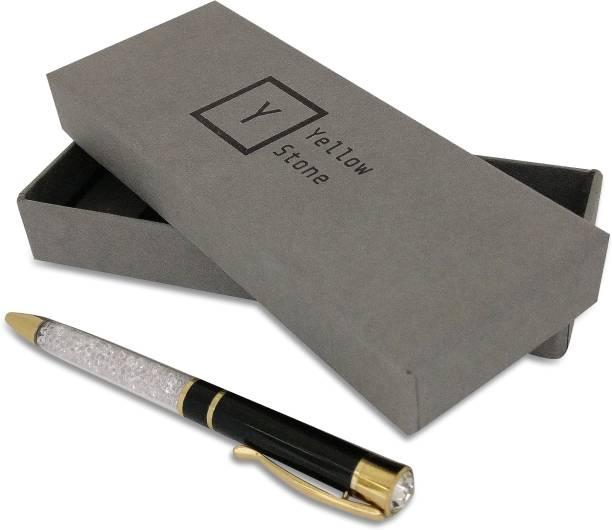 Yellow Stone Coburg Black Metal Pen,Corporare Gift Set,Pens for Gifting Ball Pen
