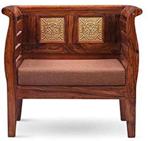 Divine Arts Wooden Single Seater Sofa with Cushion (Brown) Fabric 1 Seater  Sofa