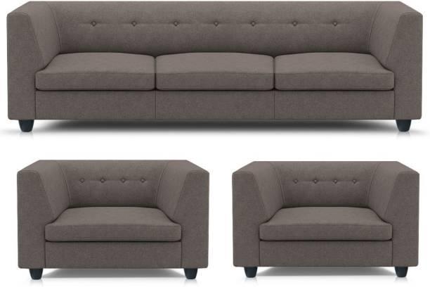 Spaces Therapy Flamingo Fabric 3 + 1 + 1 Grey Sofa Set