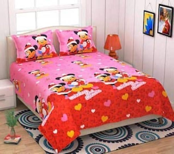 H18 SHEET 160 TC Microfiber Double Cartoon Bedsheet