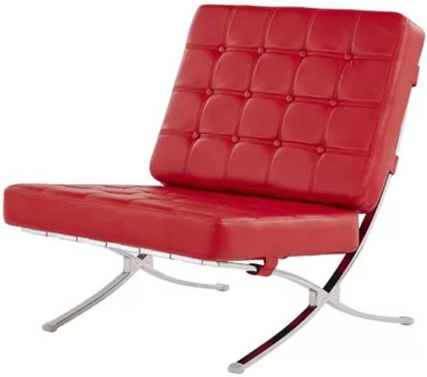 Lakdi Leatherette Lounge Sofa with SS Base Leatherette Living Room Chair