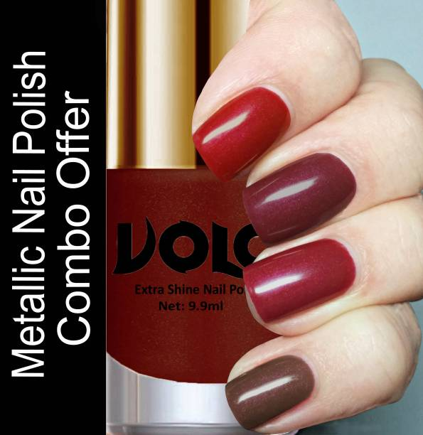 Volo HD Colors High-Shine Long Lasting Non Toxic Professional Nail Polish Set of 4 Combo No-10 Gold, Metallic Coffee, Lava Lust, Shimmer Coffee, Metallic Red