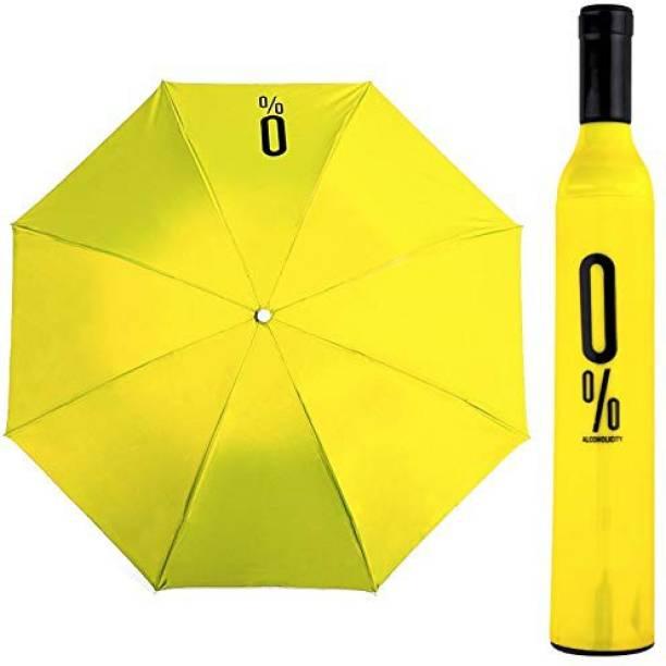 QUICKCART Wine Bottle Folding Umbrella With Bottle Cover (Black) Umbrella