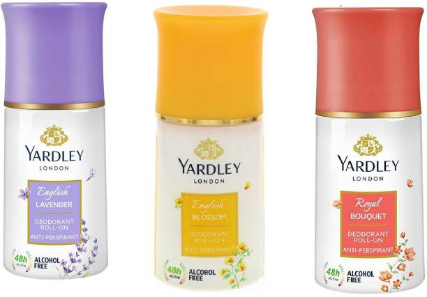Yardley London English Lavender, Royal Bouquet and English Blossom Deodorant Roll-on  -  For Men & Women