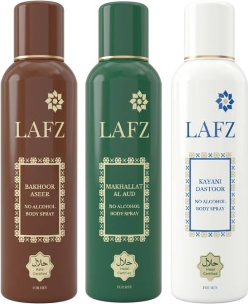 LAFZ Bakhoor Aseer, Makhallat Al Aud & Kayani Dastoor Combo No Alcohol Deodorant Spray  -  For Men