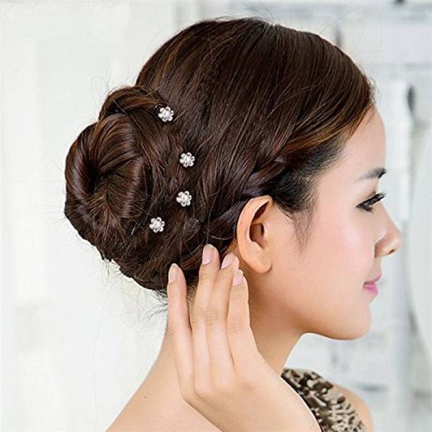 GaDinStylo Silver Metal Crystal Rhinestone Pearl Bridal Hair Juda Pin for Women(Pack of 12 PCS ONLY) Hair Pin