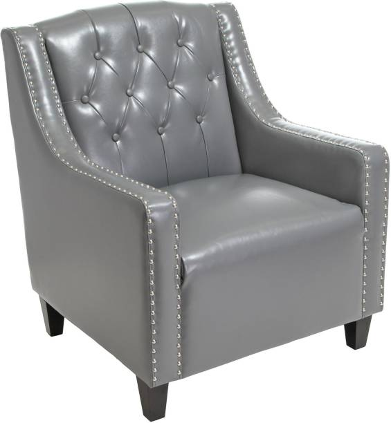 Lakdi Fully Cushioned Single Seater Sofa Cum Lounge Chair with Matching Designer Ottoman/ Footstool Leatherette Living Room Chair