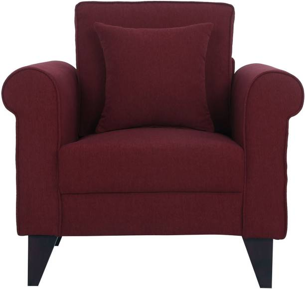 Lakdi Single Seater Sofa with Designer Are and Solid Wood Legs Fabric Living Room Chair