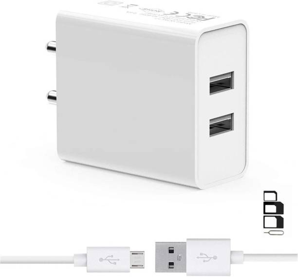UrCart Wall Charger Accessory Combo for Samsung P7100 Galaxy Tab 10.1, Samsung P7500 Galaxy Tab 10.1 3G, Samsung R360 Freeform II, Samsung R380 Freeform III, Samsung R640 Character, Samsung R680 Repp, Samsung R710 Suede, Samsung R720 Admire, Samsung R730 Transfix, Samsung R860 Calibe, Samsung R900 Craft, Samsung R910 Galaxy Indulge, Samsung Rex 60 C3312R Dual Port Charger Original Adapter Like Wall Charger, Mobile Power Adapter, Fast Charger, Android Smartphone Charger, Battery Charger, High Speed Travel Charger With 1 Meter Micro USB Cable Charging Cable Data Cable