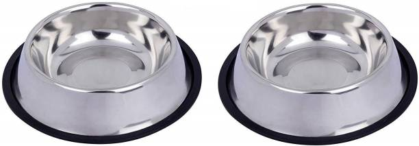 Naaz Pet Anti Skid Stainless Steel Bowl for Feeding Small Dogs Cats and Kittens (Silver, 200 ml X 2) - Set of 2 Anti Skid Stainless Steel Bowl for Feeding Small Dogs Cats and Kittens (Silver, 200 ml X 2) - Set of 2 ROUND Steel Pet Bowl (200 ml Silver) Stainless Steel Pet Bowl