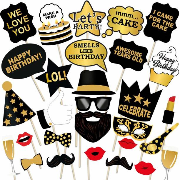 Party Propz Birthday Photo Booth Props 29 Pcs Photo Booth Board