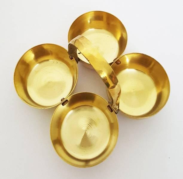 Rolimoli Brass chopdBrass Puja Roli Chawal Elaichi Mishri 4 Bowl Standa Brass