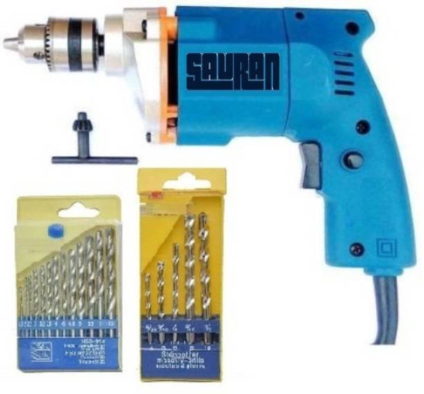 Sauran Power Drill Machine With Drill bits for wood,iron,wall Multicolour/10mm/300watt/230v/2600 rpm/6 month warranty with machine Drill Machine with Warranty S2 Pistol Grip Drill
