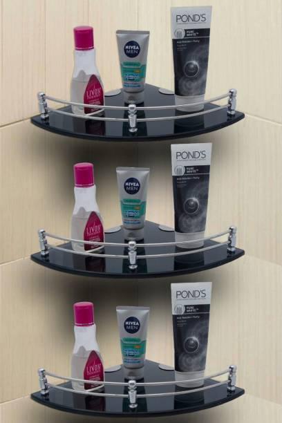 USF Glass Corner Shelf Bathroom Shelf and Kitchen Shelf Bathroom Accessories - 9 X 9 Inches -Black -Round (Transparent) Pack of 3 Glass, Stainless Steel Wall Shelf