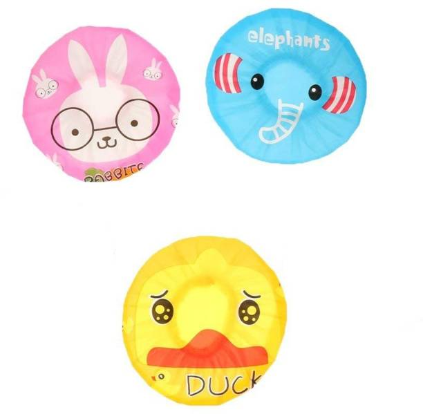 FOK Baby's Waterproof Reusable Cute Cartoon Shower Caps Lace Elastic Band