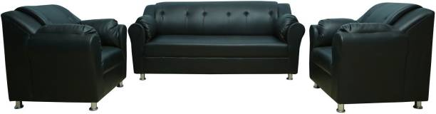 gnanitha gnanitha3 Leatherette 3 + 1 + 1 black Sofa Set