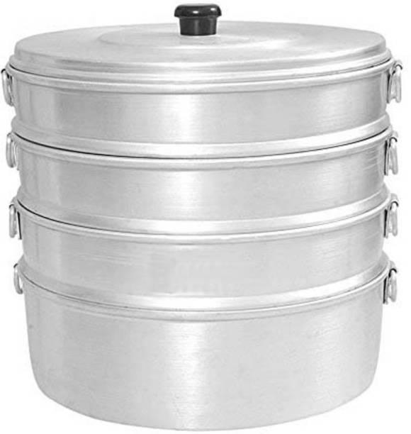 GENMAN ethniccreations2 Aluminium 4 tier Momos Steamer No. 8 2.3 Ltr capacity Kitchen utensil Perfect for home Cooking Aluminium Steamer