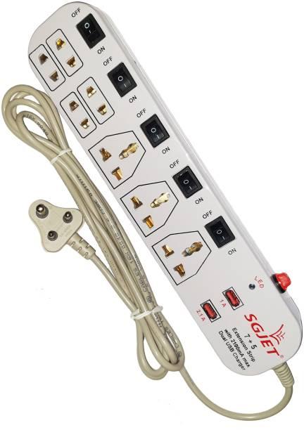 SGJET 7 Socket with Dual USB 6 A Three Pin Socket