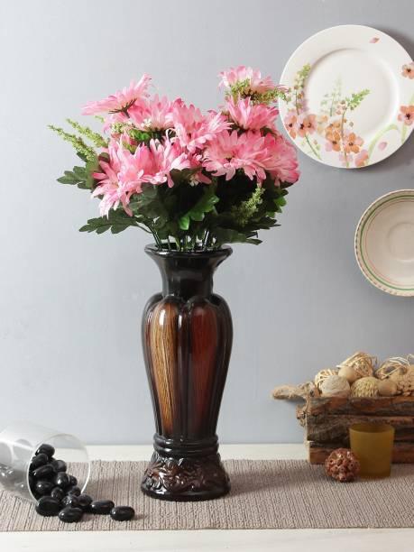 FOURWALLS Beautiful Decorative Artificial Garabara Flower Bunches for Home d�cor (48 cm Tall, 10 Heads, Set of 2, Light/Pink) Multicolor Gerbera Artificial Flower