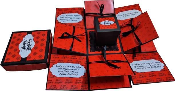 Easycraftz Red Chocolate Explosion box for Birthday (without chocolates) Greeting Card