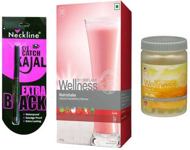Oriflame Sweden Wellness Nutrishake (strawberry , 500 g) and Omega 3 necline