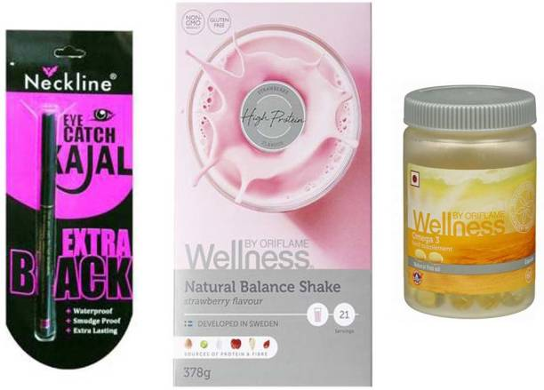 Oriflame Sweden Wellness Natural balance shake (strawberry , 500 g) and Omega 3 necline kajal (Set of 3)
