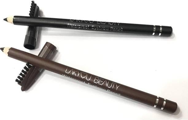 lakyou beauty Waterproof Eyebrow Pencil (Black and Dark Brown) (Pack of 2)