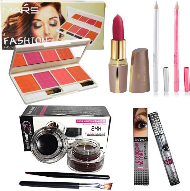 MARS Fashion 4 Color Eyeshadow With Long Lasting Eyeliner Gel, Lipstick