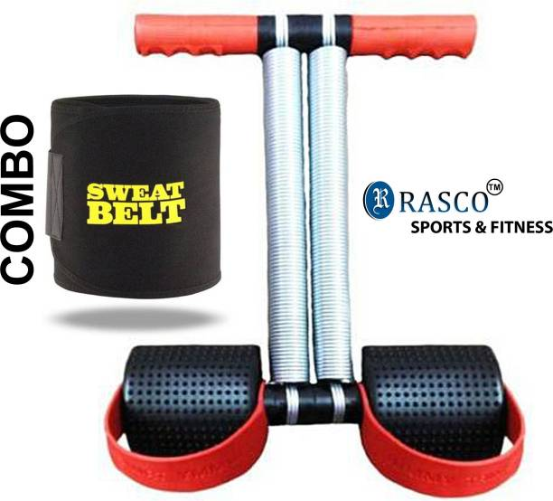 RASCO Combo Red Double Steel Spring with Sweat Belt Size Free Ab Exerciser