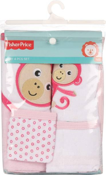 FISHER-PRICE Fisher Price Baby Bath Set Pack of 4 Pink (Monkey)