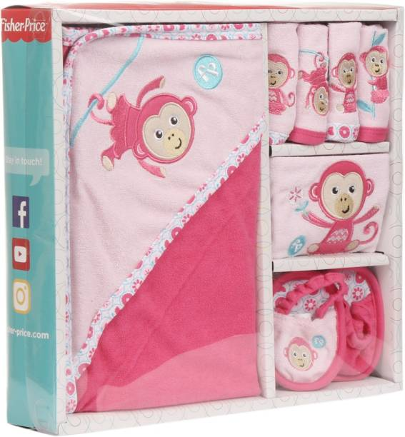 FISHER-PRICE Fisher Price Baby Bath Set Pack of 7 Pink (Monkey)