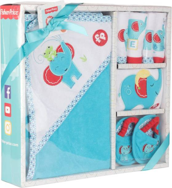 FISHER-PRICE Fisher Price Baby Bath Set Pack of 7 Blue (Elephant)