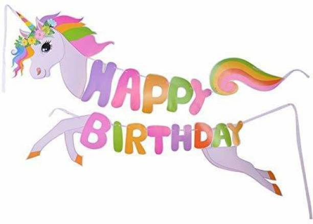 Party Propz Happy Birthday Unicorn Banners for Birthday Party Decoration Set of 1 Pc Banner