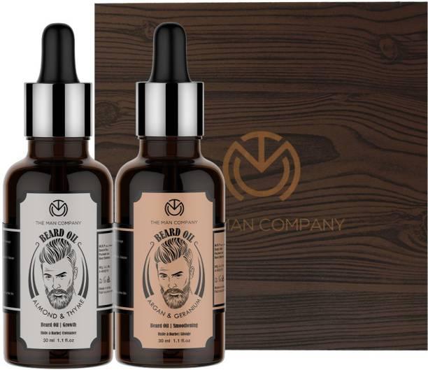 THE MAN COMPANY Beard Growth Duo - Almond &thyme Beard oil (30 ml), Argan & Geranium Beard Oil (30ml)