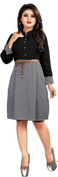 DM MART Women A-line Black Dress