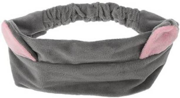 Power Up Imported Cat Ear Make Up Face Washing Shower Mask Hairband Snood Headband Grey Makeup Headband