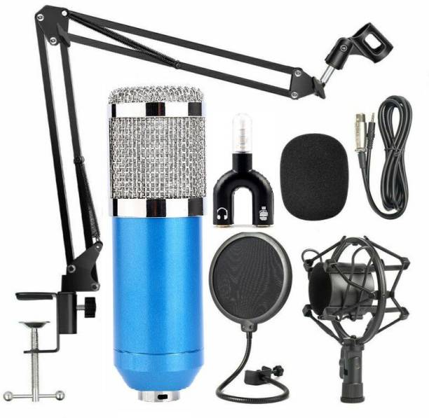 Techtest BM-800 Mic Kit Adjustable Mic Microphone Stand, Studio Microphone Stand, Recording Mic Stand, Microphone for Pc, Microphone for Singing , Microphone for Voice Recording, Microphone with Speaker, Recording Microphone, ( Metal Stand NB-35 + Microphone Pop Filter + Microphone BM800 Blue-1 )
