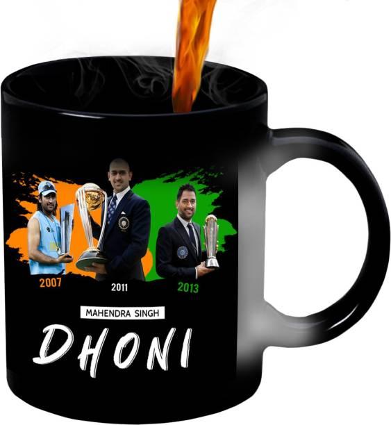 HUPPME MS Dhoni Achievements Ceramic Magic Ceramic Coffee Mug