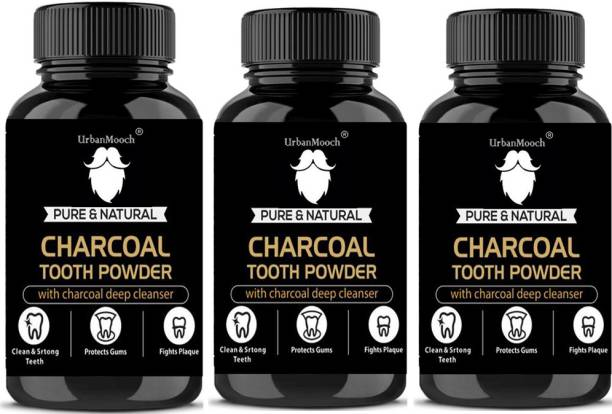 UrbanMooch Natural Activated Charcoal Teeth Whitening Powder(20 g)-Pack of-3-Bottle-(60gm)