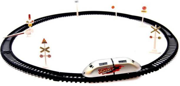 Bonkerz High Speed Metro Train with Round Track with Sign Boards for Kids