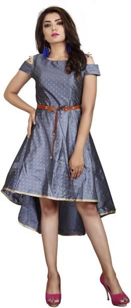 DELIZIA Women High Low Grey Dress