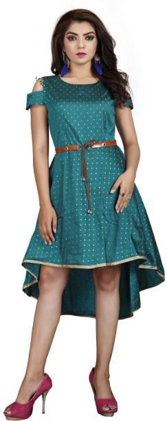 DELIZIA Women High Low Light Blue Dress