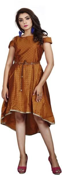 DELIZIA Women High Low Orange Dress