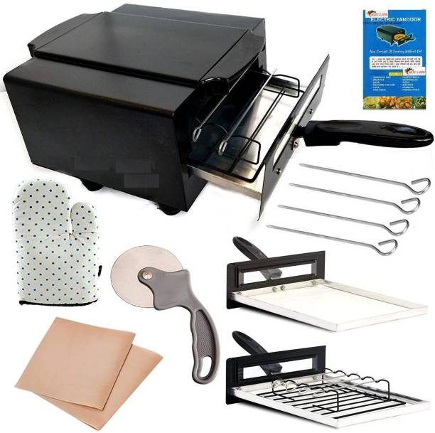 HOT LIFE Electric Tandoor with Pizza Cutter,Recipe Book, Glove, Magic Cloth 1500-Watt (All Accessories) Black Lightweight and Elegant Looking Tandoor Electric Tandoor