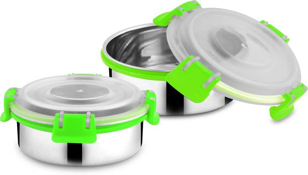Classic Essentials Stainless Steel Bento Lock Utility lunch Box Pack of 2  - 400 ml Steel Fridge Container