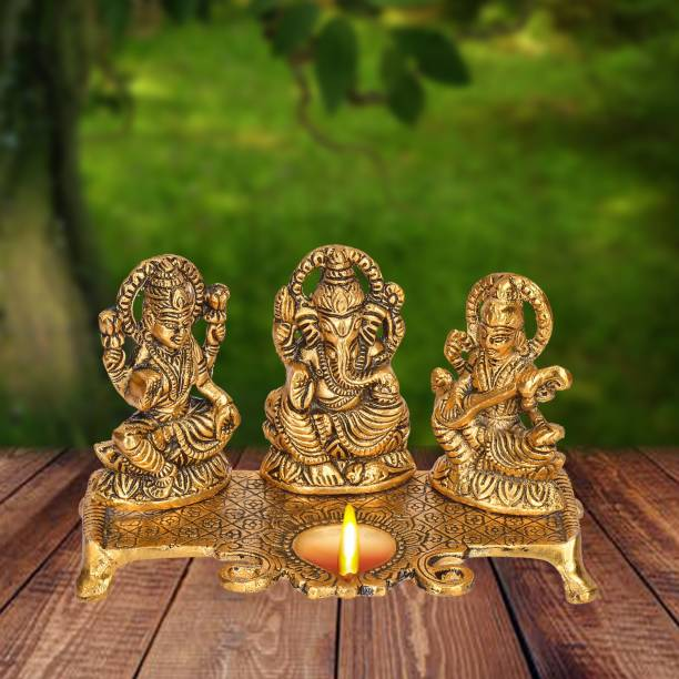 DreamKraft White Metal Gold Plated Lakshmi Saraswati Ganesh With Deepak Aluminium Table Diya