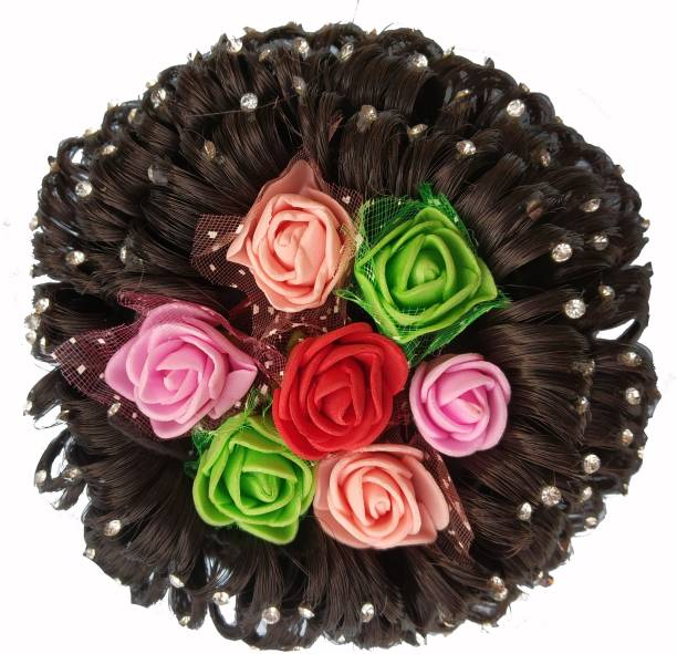 Shining Angel Designer Stone Mulit-Flower Bridal Wedding Hair Extension Juda Accessories Bun